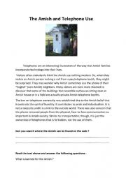 English Worksheet: The Amish and Telephone Use