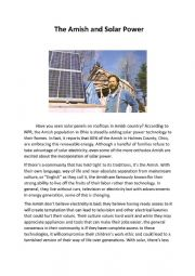 English Worksheet: The Amish and Solar Power