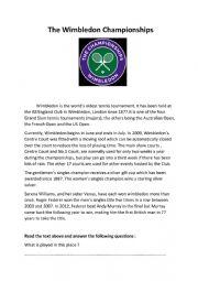 English Worksheet: The Wimbledon Championships