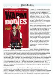 Comprehension and Language Questions - Warm Bodies