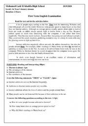 English Worksheet: internet addiction exam for 1st year students secondary school