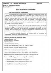 English Worksheet: internet addiction exam for 1st year students secondary school