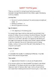 English worksheet: Sweet tooth