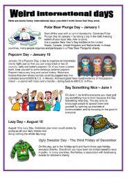 English worksheet: Weird international days