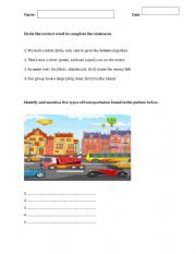 Cloze and Comprehension exercises about transportation