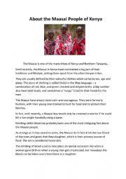 English Worksheet: About the Maasai People of Kenya
