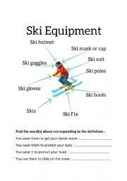 English Worksheet: Exercise about Ski Equipment