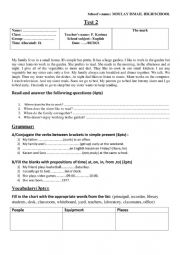 English Worksheet: Common core global test 2nd unit/ in Morocco