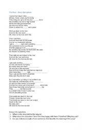 English Worksheet: The River (Bruce Springsteen) - Gap Filling