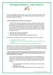 Writing Workshop 1 - Topic Sentence