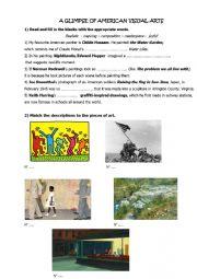 English worksheet: american visual arts
