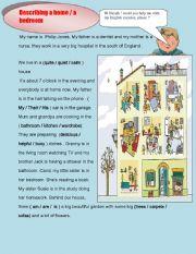 English Worksheet: describing a house/ a bedroom