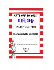 English Worksheet: DIPLOMA END OF SCHOOL CAT IN THE HAT