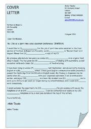 English worksheet: formal leter