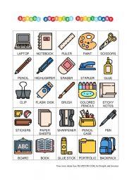 School Supplies Pictionary