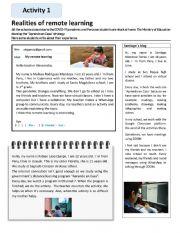 English Worksheet: Remote Learning in Peru