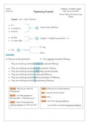 English Worksheet: Expressing purpose: to/ so as to/ in order to/ so that/ in order that/ for