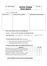 English Worksheet: Internet Shopping  group session)