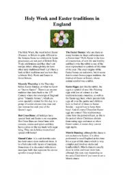 English Worksheet: Easter traditions