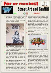 English Worksheet: For or against Street Art and Graffiti. (Debating)