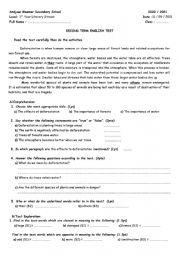 English Worksheet: Deforestation Test