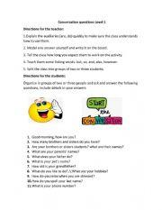 Conversation questions- Beginner level-