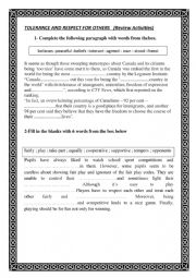 English Worksheet: Tolerance And Respect for Others