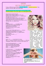 Song Ours by Taylor Swift (Possessive Adjs and Pronouns)