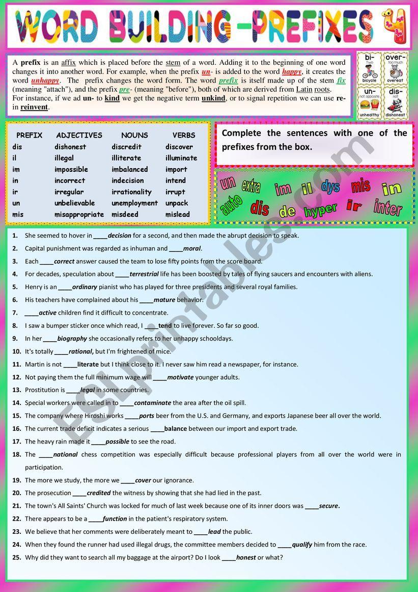 PREFIXES for Intemediate learners 4 - Ex + KEY