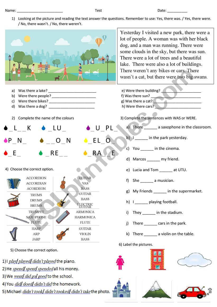 Test past simple worksheet