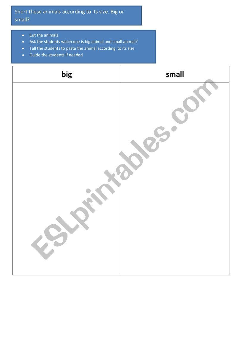 animal big or small worksheet