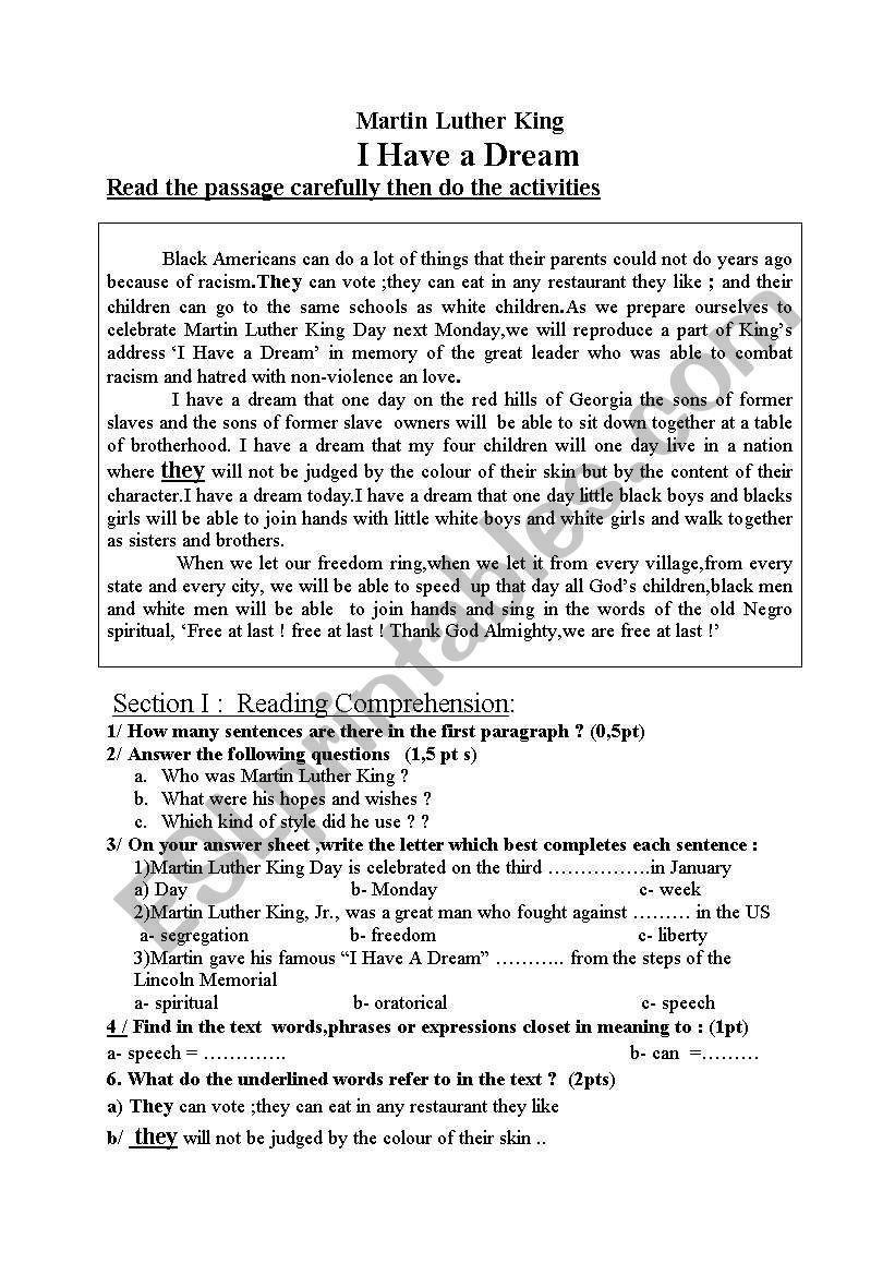 Martin Luther I have a Dream worksheet