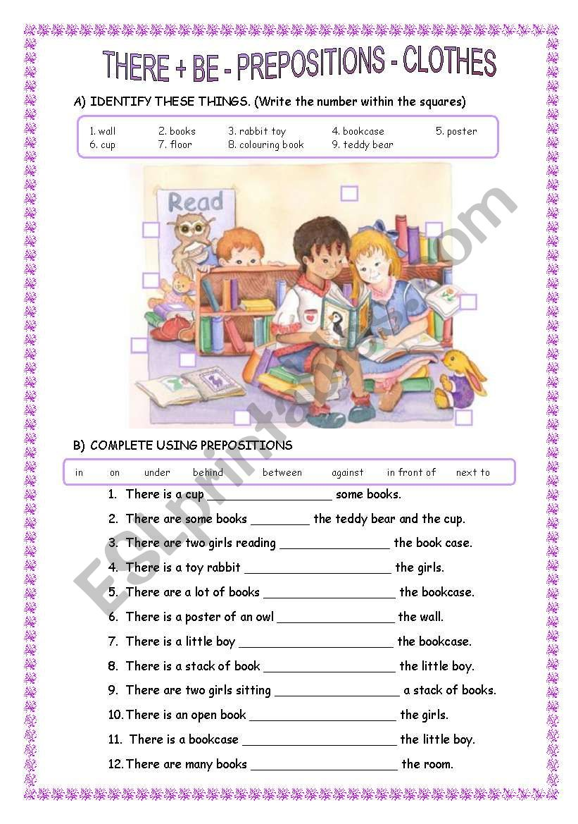 there is there are prepositions clothes esl worksheet by sandramendoza. Black Bedroom Furniture Sets. Home Design Ideas