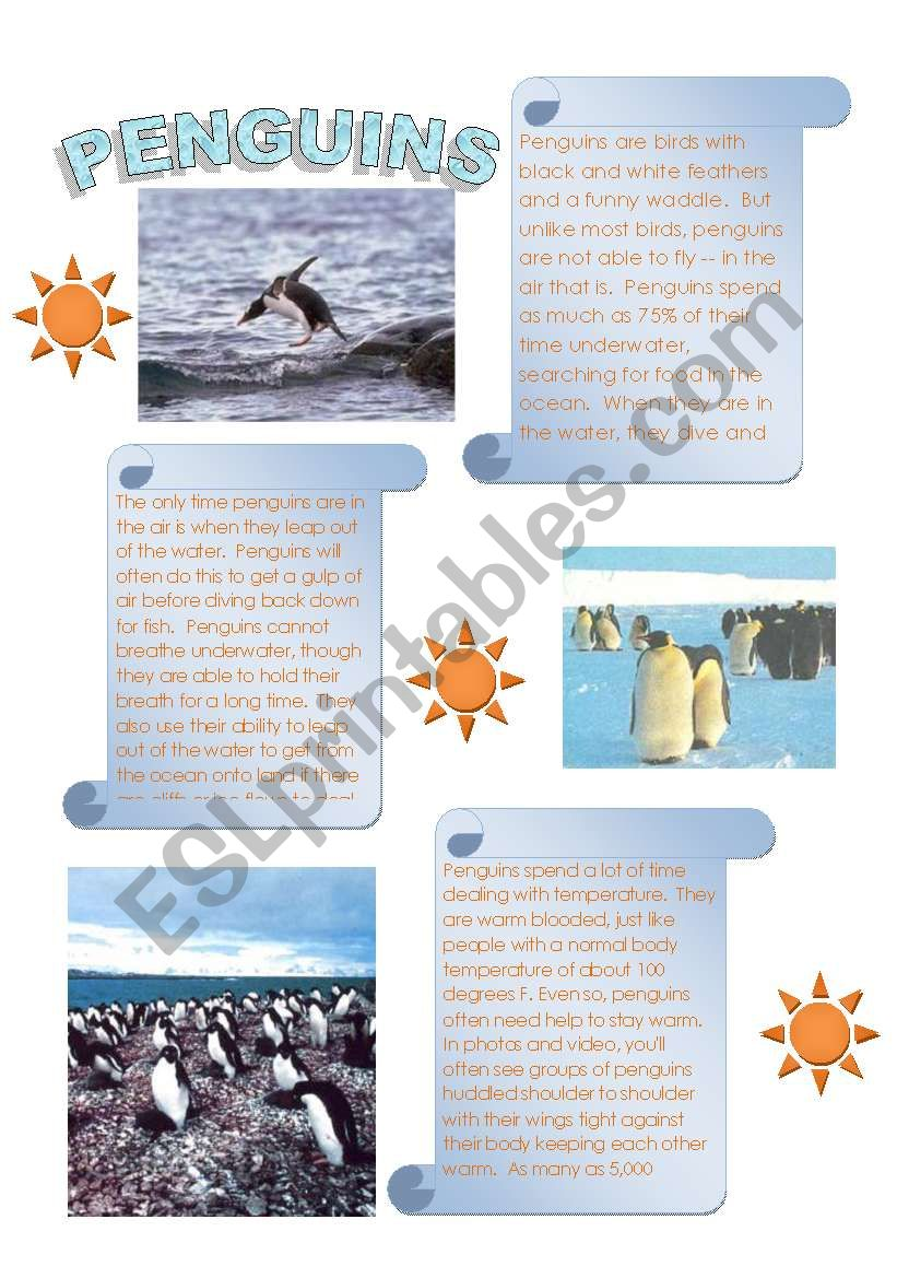 Penguins = Interesting reading with follow up questions (2 pages)