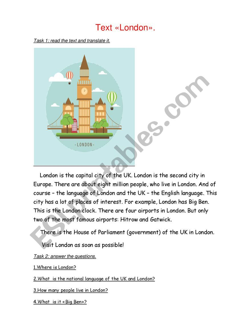 Text about London. worksheet