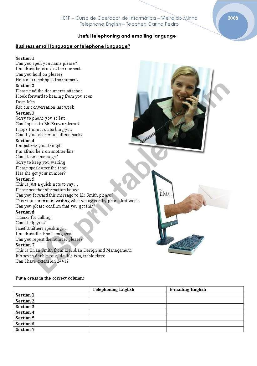 Telephoning and E-mailing English