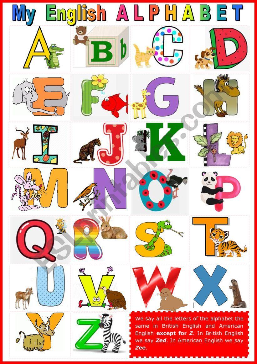 My English Alphabet + KEY worksheet