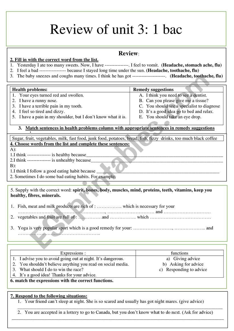 review of unit / 1bac worksheet