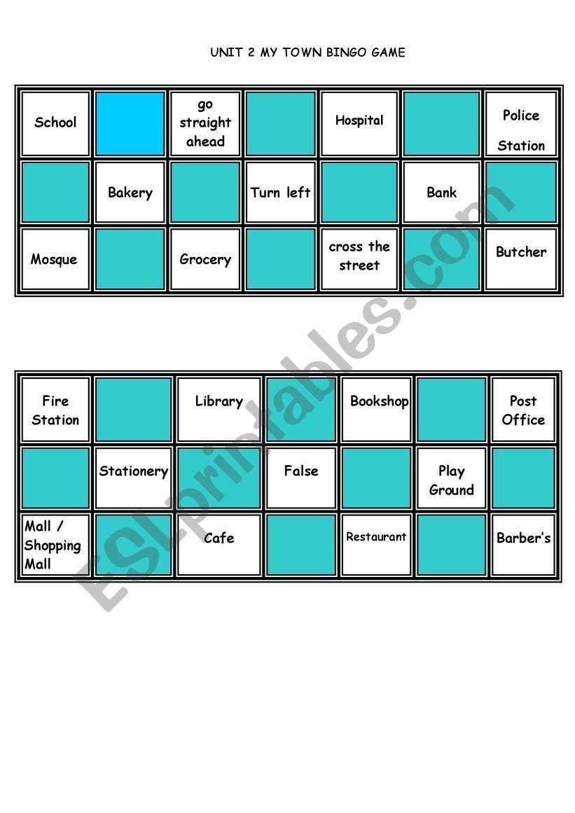 MY TOWN BINGO GAME worksheet