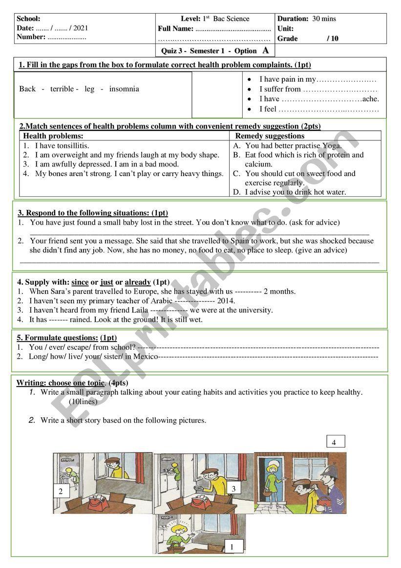 quiz 1 st bac unit 3 worksheet