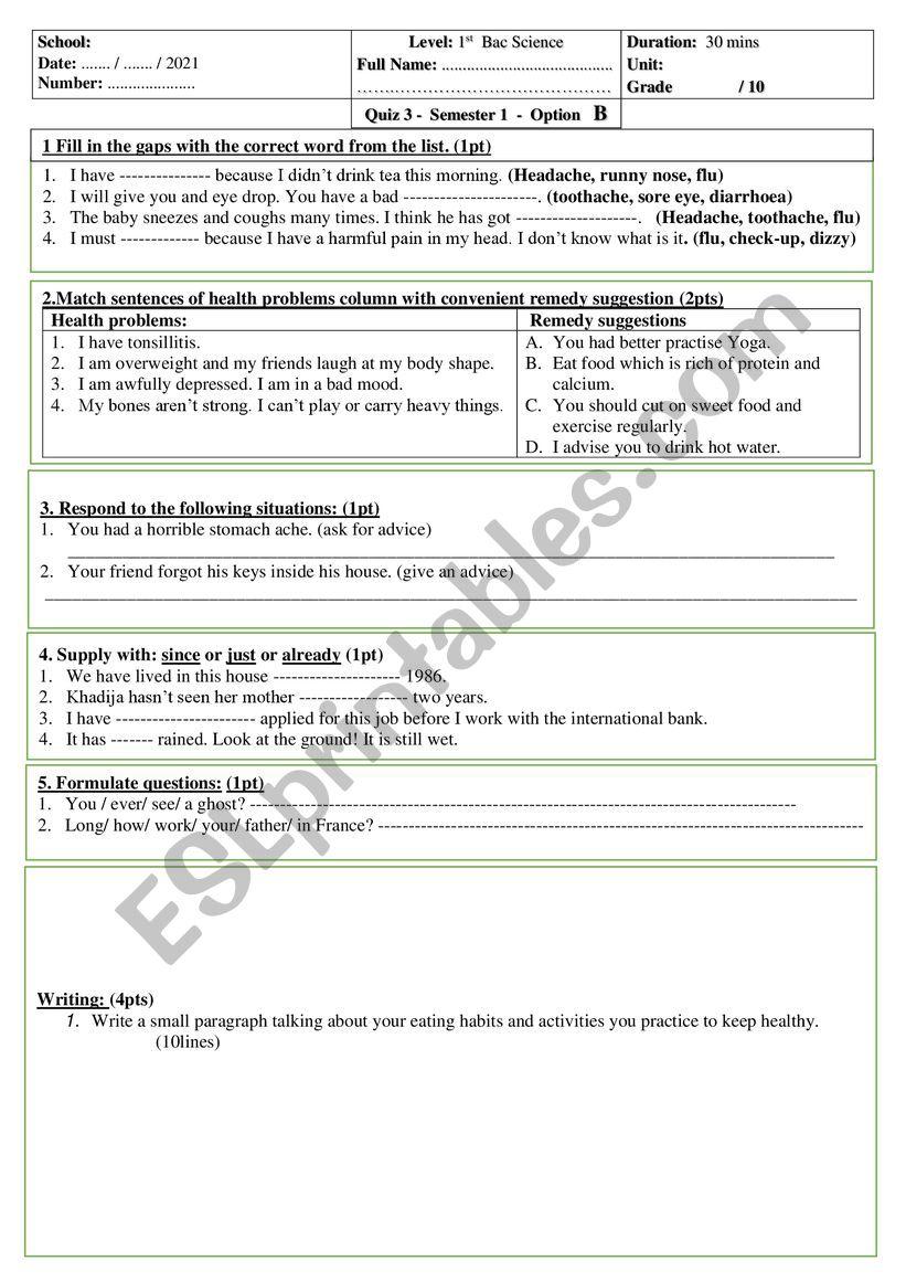 Quiz 1 bac unit 3 option b worksheet