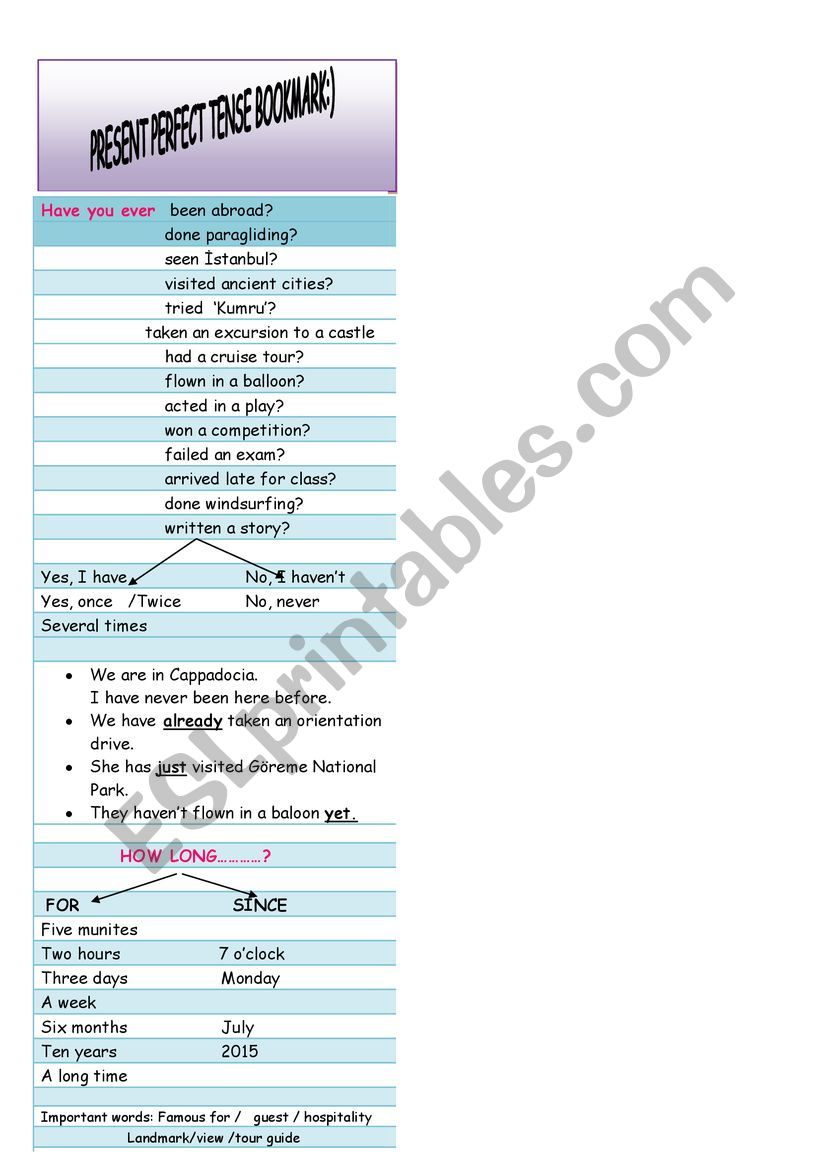 PRESENT PERFECT TENSE bookmark