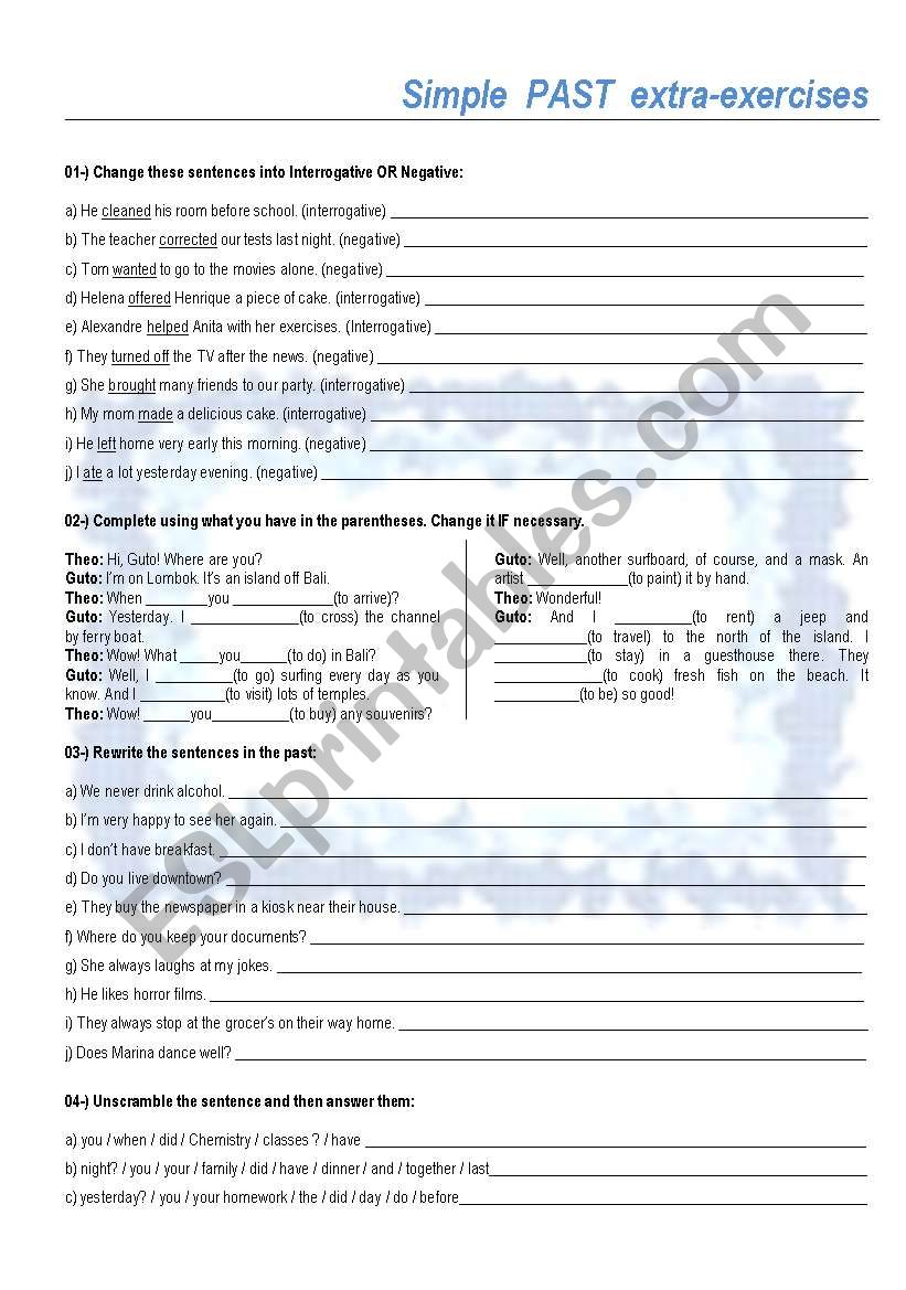 Simple Past extra-exercises - ESL worksheet by Cassy