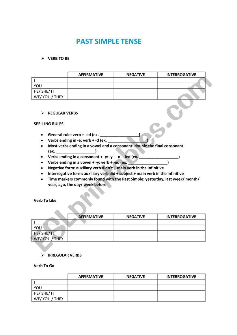 Past Simple worksheet worksheet
