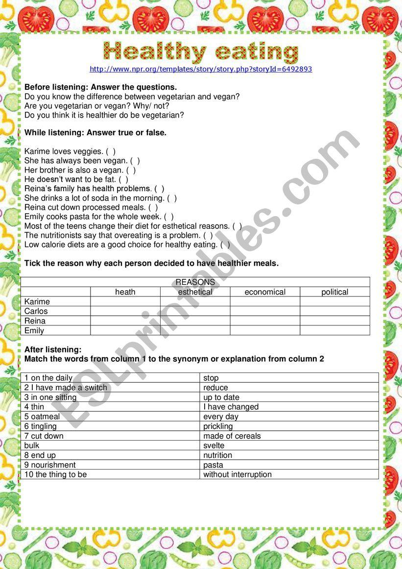 Listening - Healthy eating worksheet