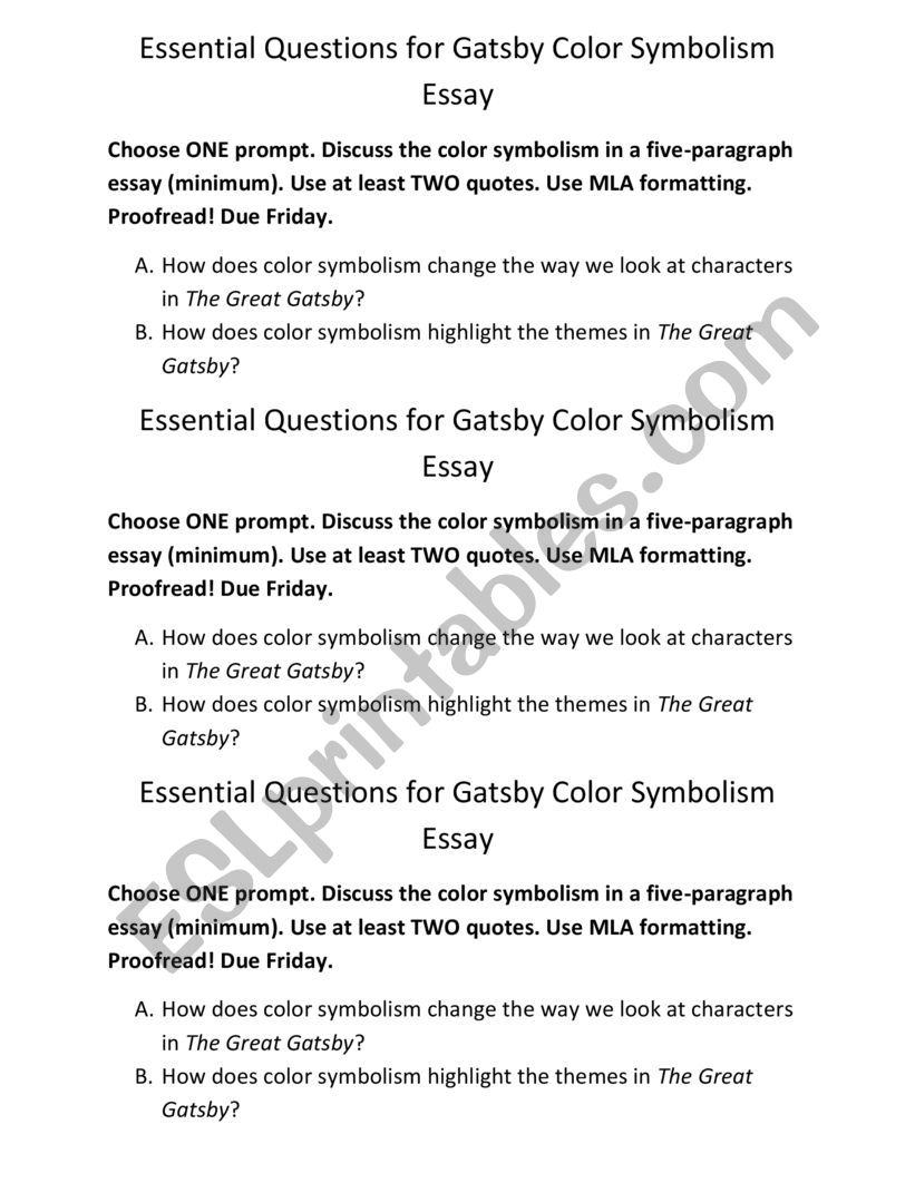 Gatsby Color Symbolism Essay worksheet