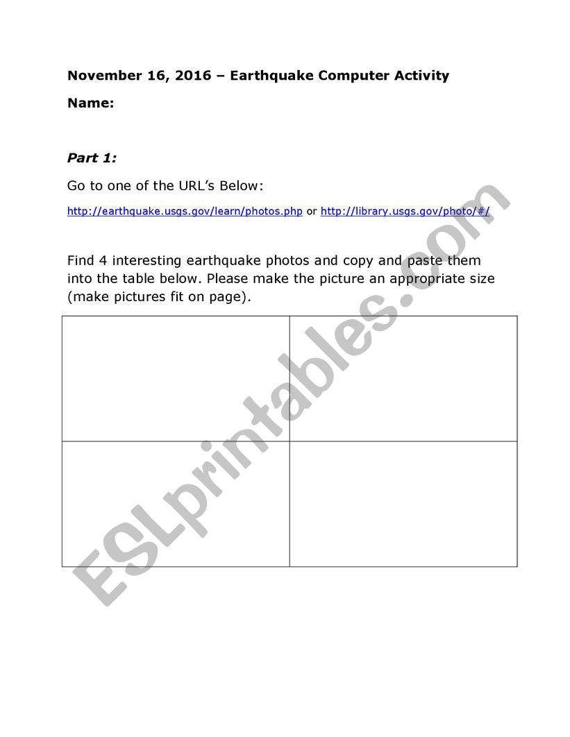 Earthquake computer task worksheet
