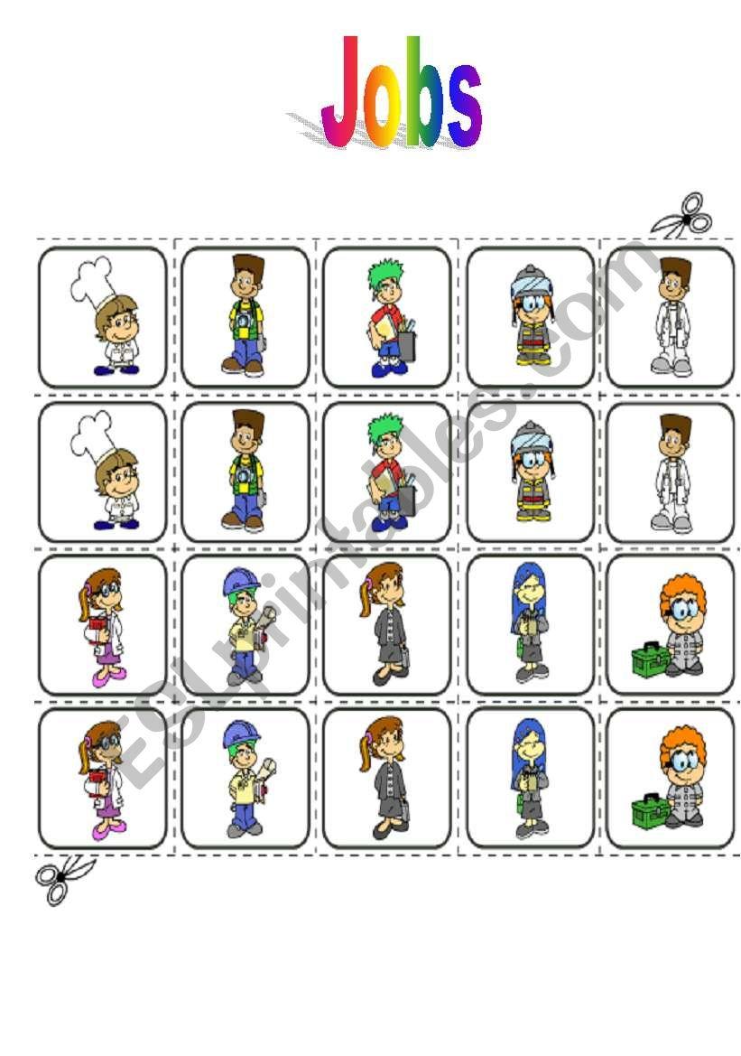 Jobs - memory game worksheet