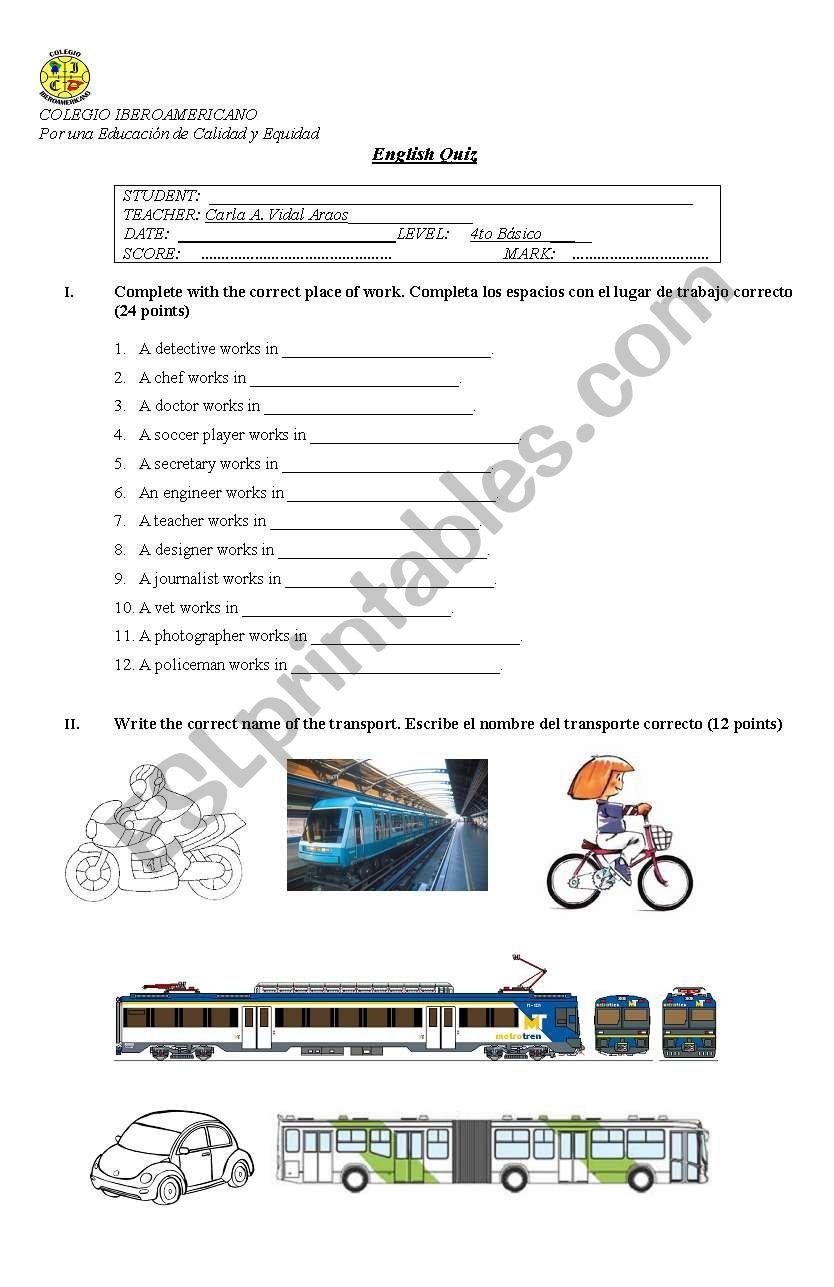English worksheets: Professions and transportation test
