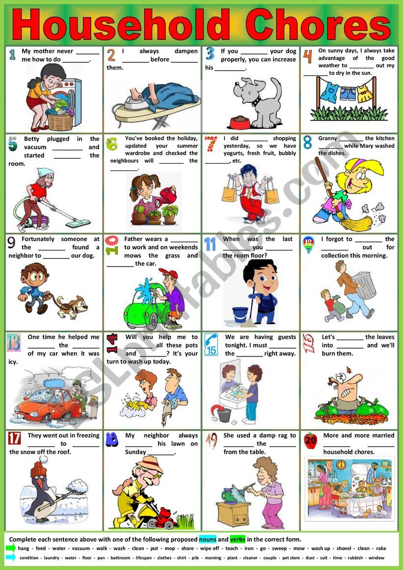 HOUSEHOLD CHORES. - Vocabulary matching. + KEY